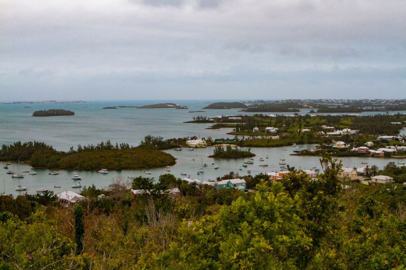 View from Gibbs Lighthouse in Bermuda with kids