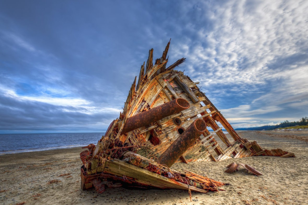 Remains of a shipwreck in Haida Gwaii British Columbia one of the most amazing places in Canada