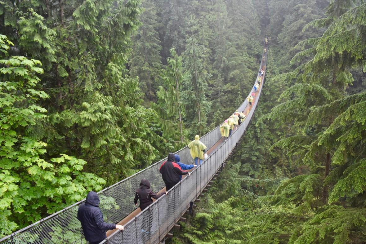 Visitors cross the Capilano Suspension bridge near Vancouver British Columbia one of the most amazing places in Canada