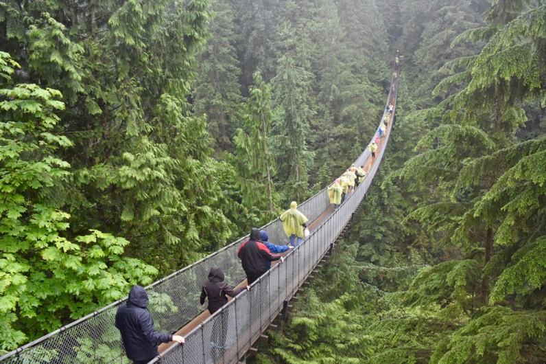 Visitors cross the Capilano Suspension bridge near Vancouver British Columbia one of the most amazing places in Canada