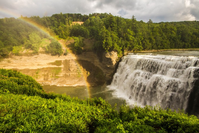 Middle Falls and a Rainbow in Letchworth State Park in New York State
