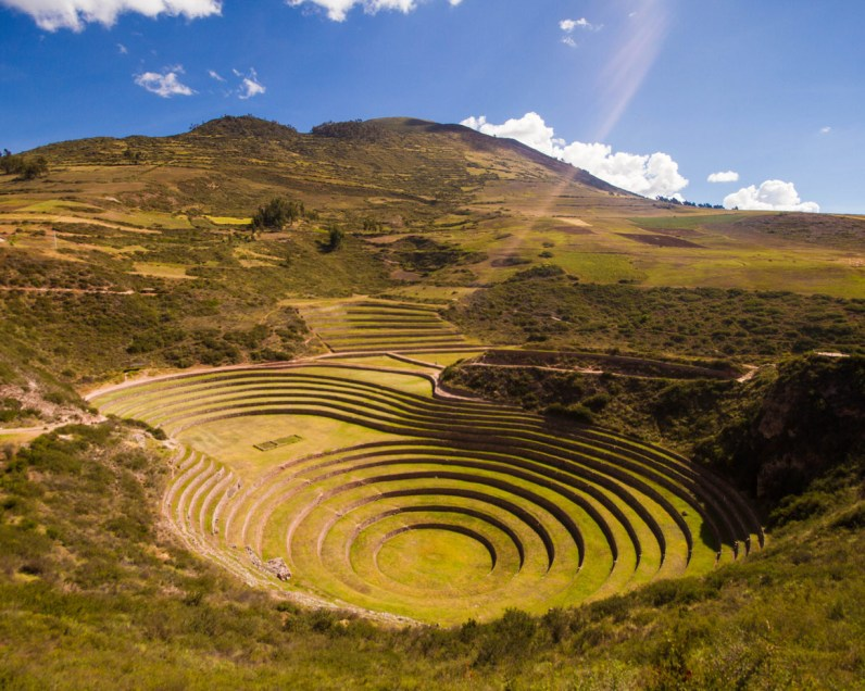 The Terraces of Moray are on of the top stops for a day trip to the Sacred Valley Peru