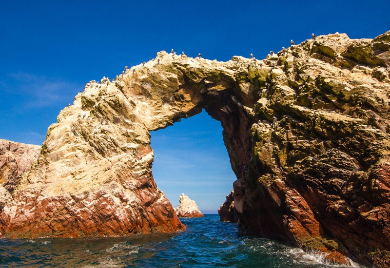 A natural arch at the Paracas National Reserve in Paracas Peru