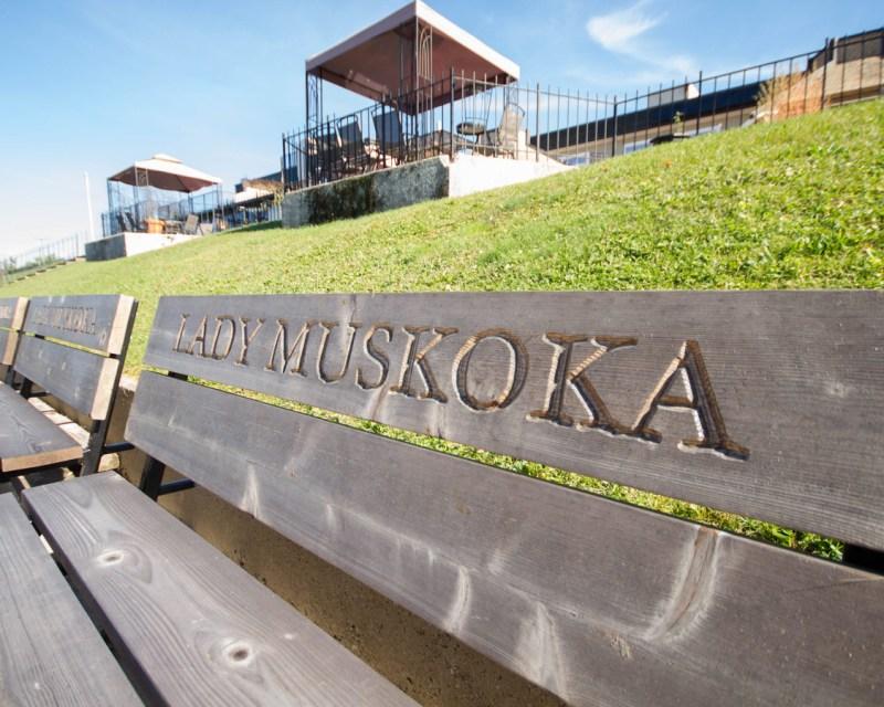 Lady Muskoka cruise bench in Bracebridge Ontario