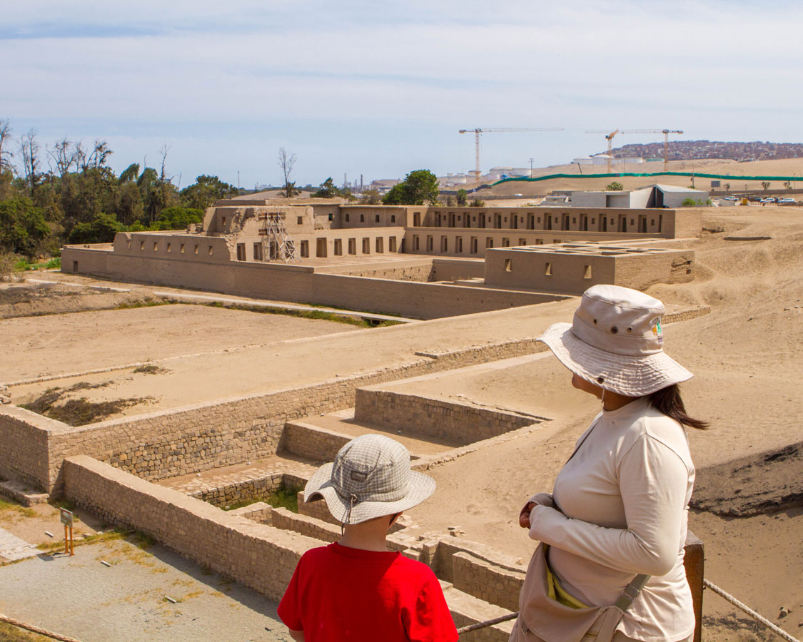 Looking over the Inca ruins of Pachacama in Pachacamac Peru while we explore Lima Peru with kids