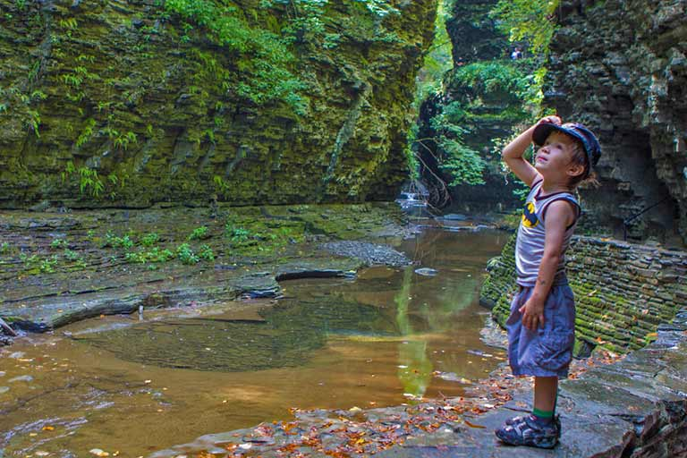 Waterfalls of Watkins Glen with kids