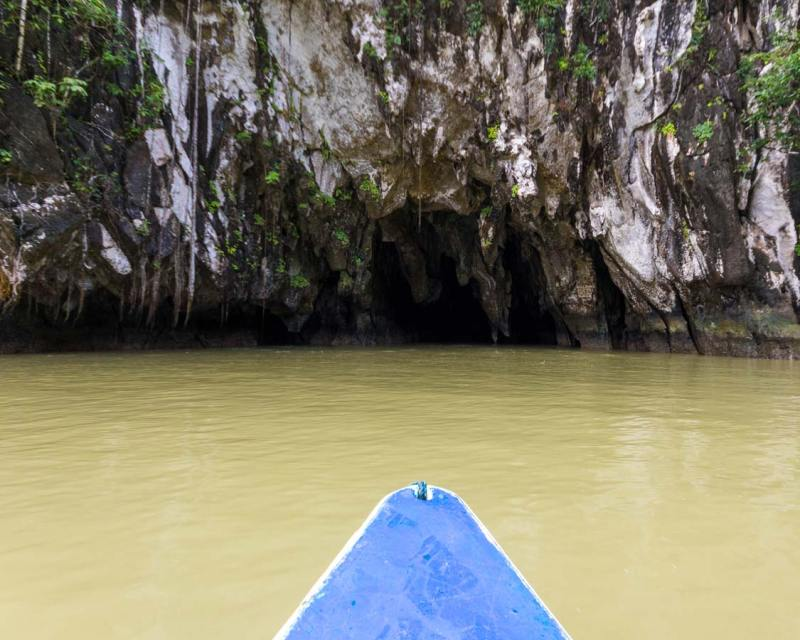 Boat enters the Puerto Princesa Underground River in Palawan Philippines