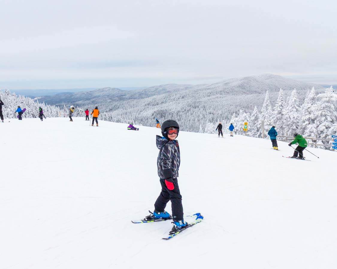 Boy skiing at Mont Tremblant in Quebec
