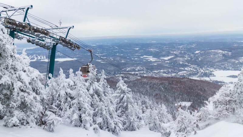 Ski Chairlift at Mont Tremblant ski resort in Quebec