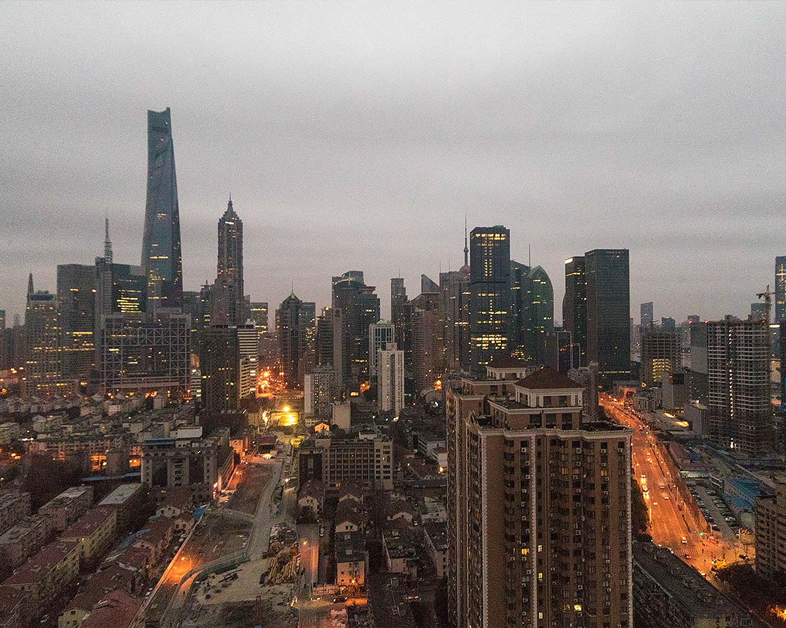 Dawn over Shanghai from the Eton Hotel