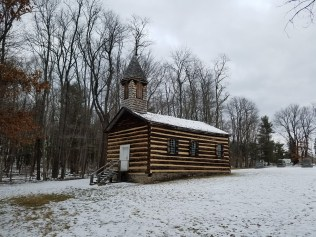 log church in winter