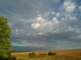 Traum - Ausblick vom Zelt auf die Felder Tschuwaschiens, bei 25 Grad am Sommerabend.