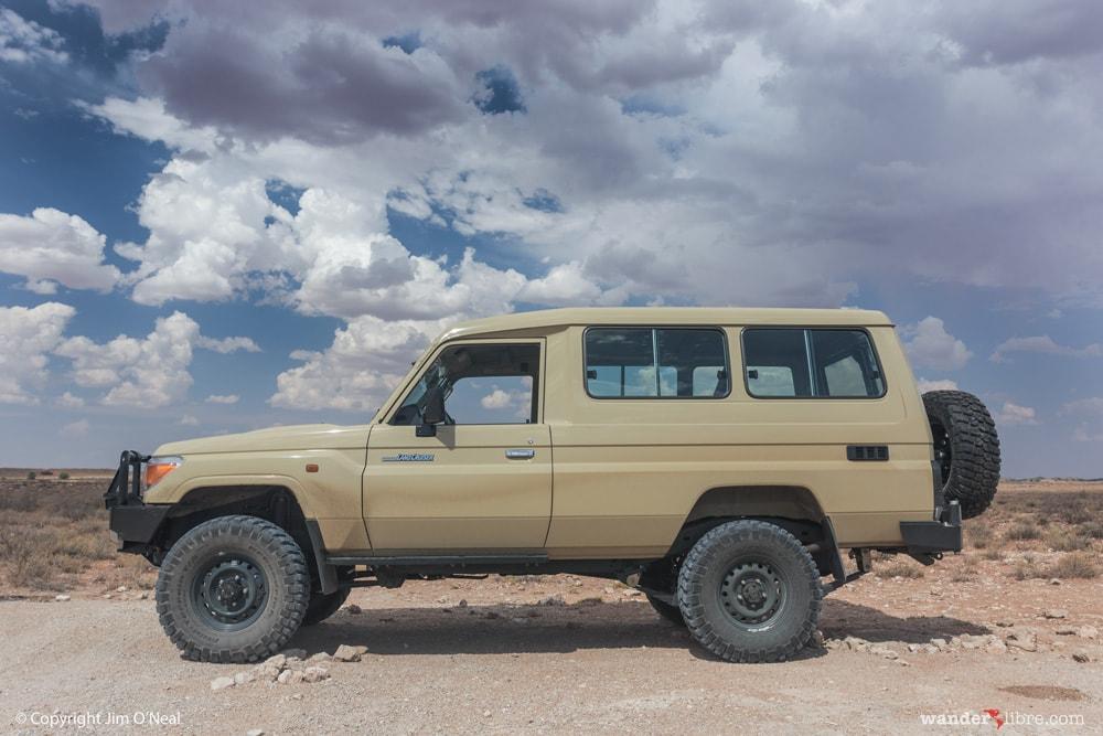 A Toyota Land Cruiser Troop Carrier in the Kalahari Desert