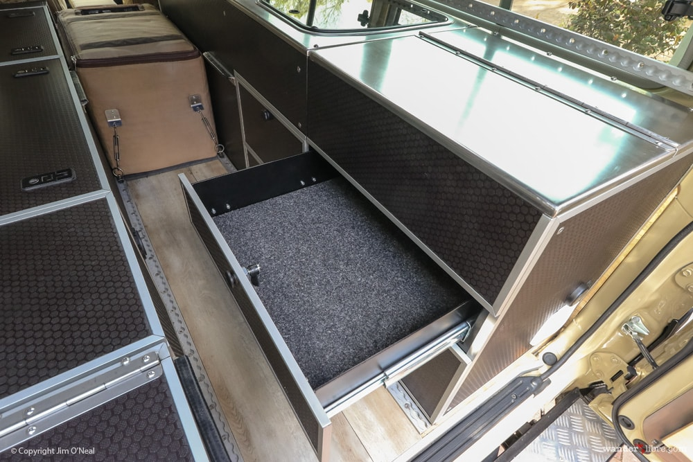 Troopy Conversion Showing Drawer (Under Stove)