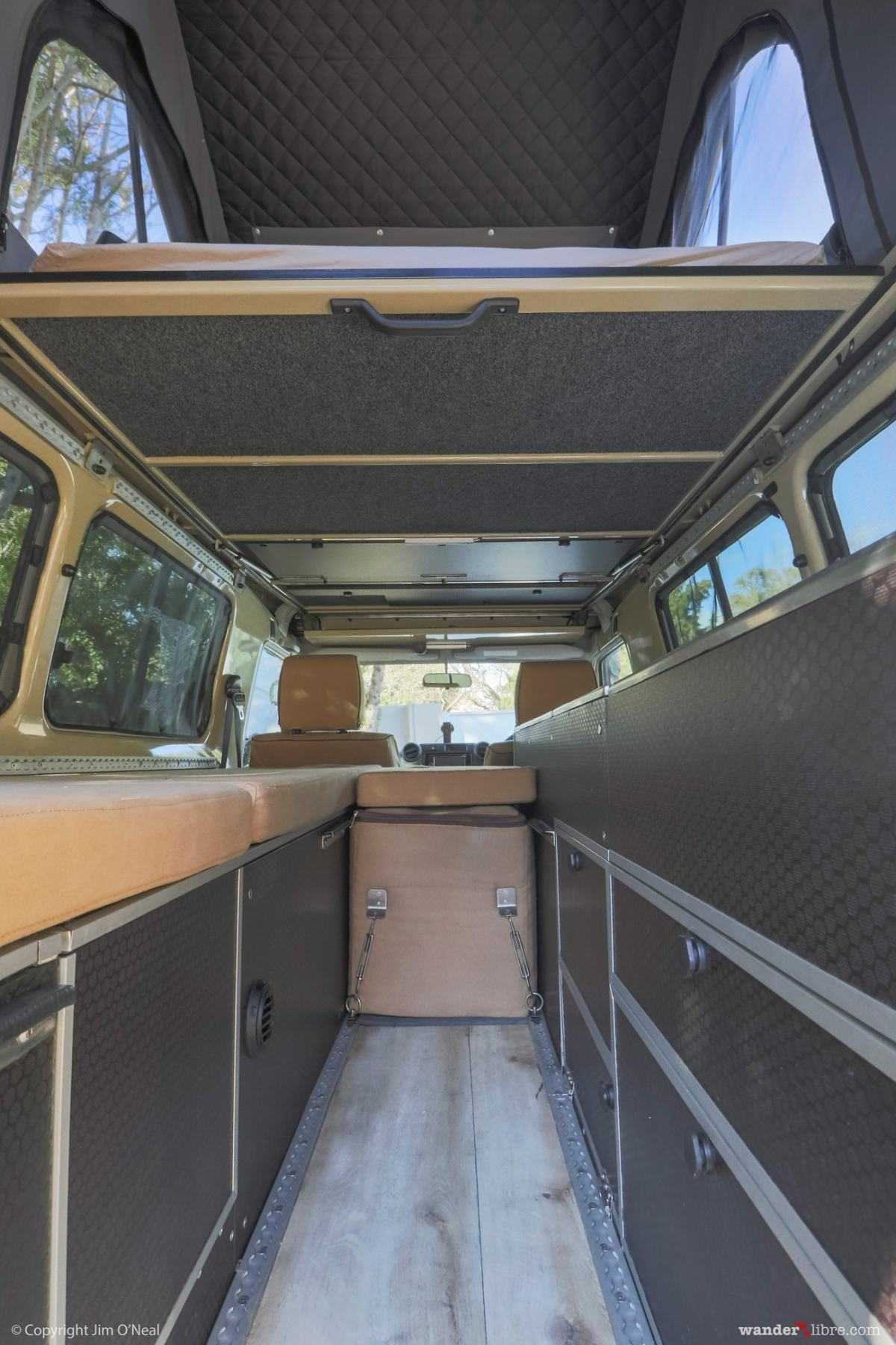 Land Cruiser Troop Carrier Camper Conversion Pop-Top Roof with Bed Down