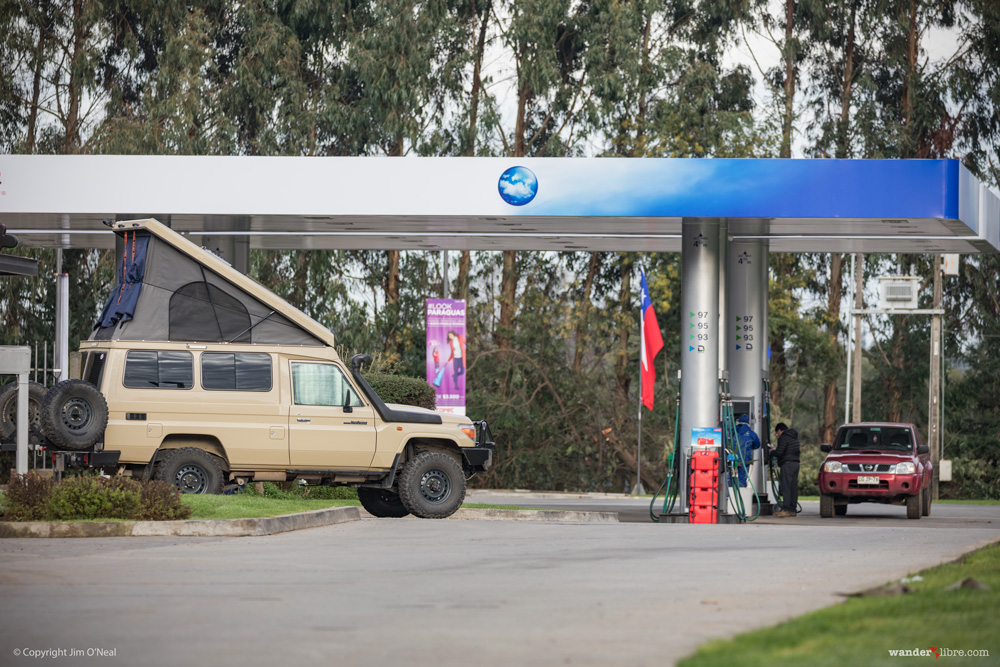Camping in a Land Cruiser Troopy at a Copec gas station south of Santiago, Chile