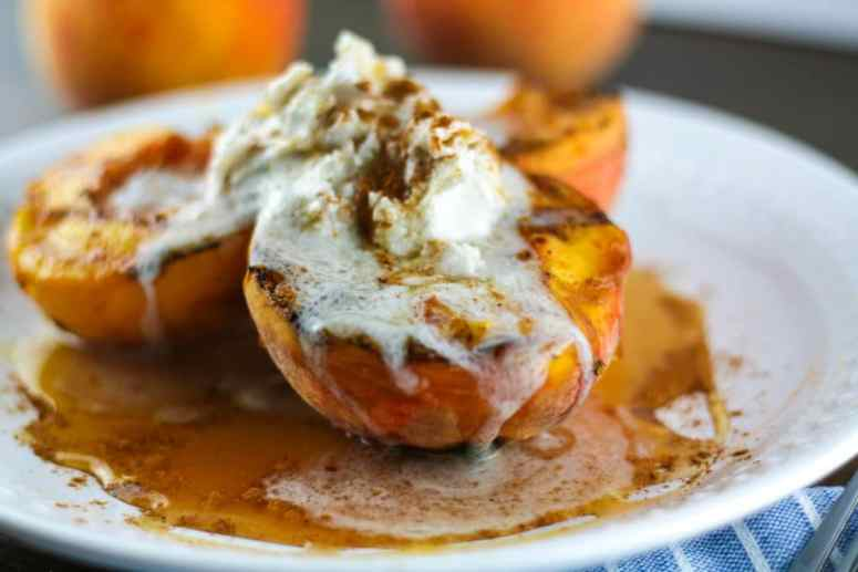 grilled peaches with honey and coconut cream