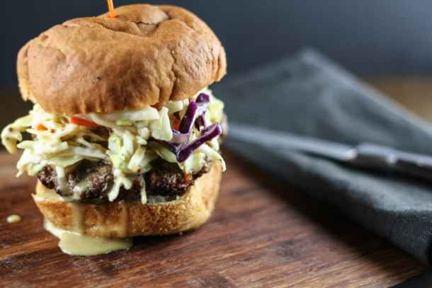 Burger with honey mustard slaw