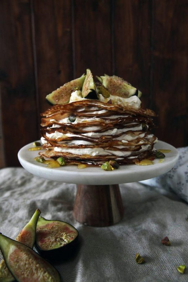 fig mascarpone crepe cake