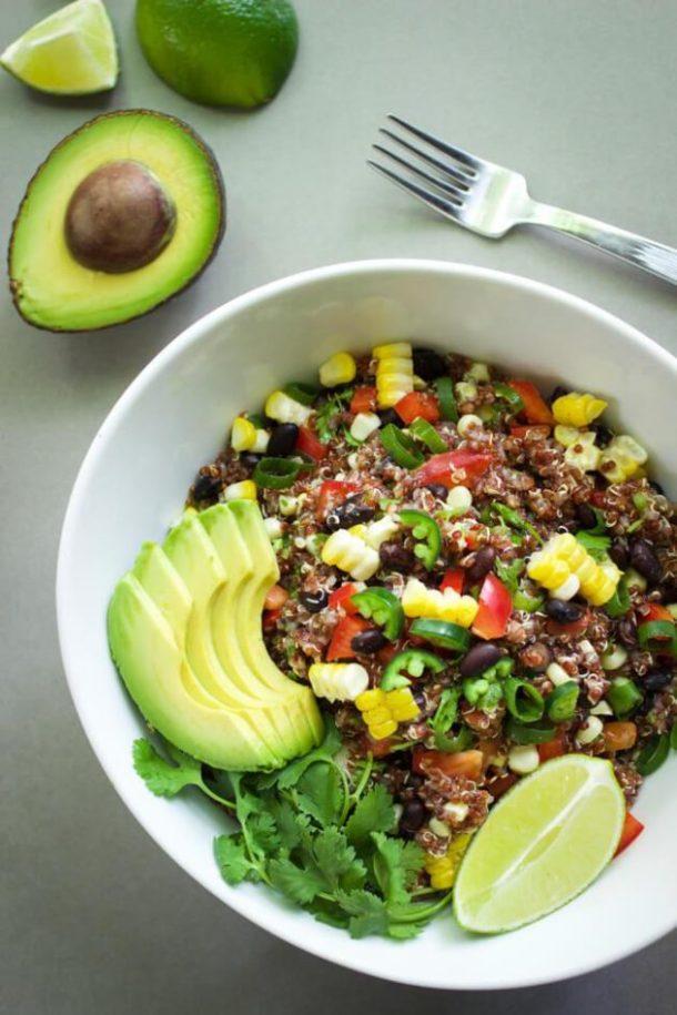 spicy red quinoa salad