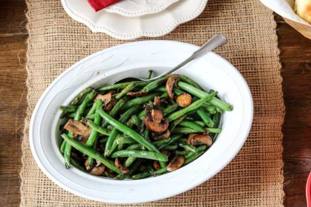 sautéed-green-beans-mushrooms