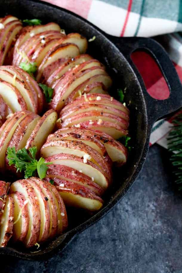 lemon garlic hasselback potatoes