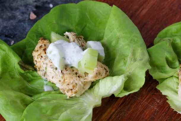 Chicken gyro lettuce wrap