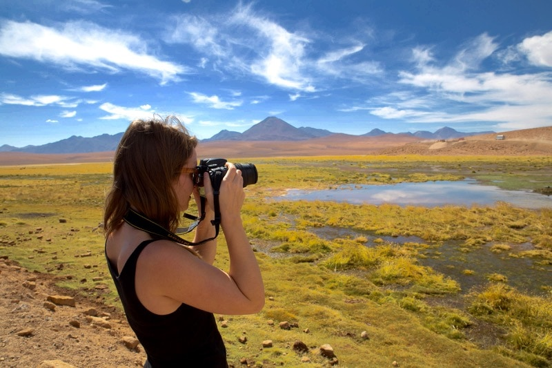 Photographing the lagoons near El Tatio, Chile