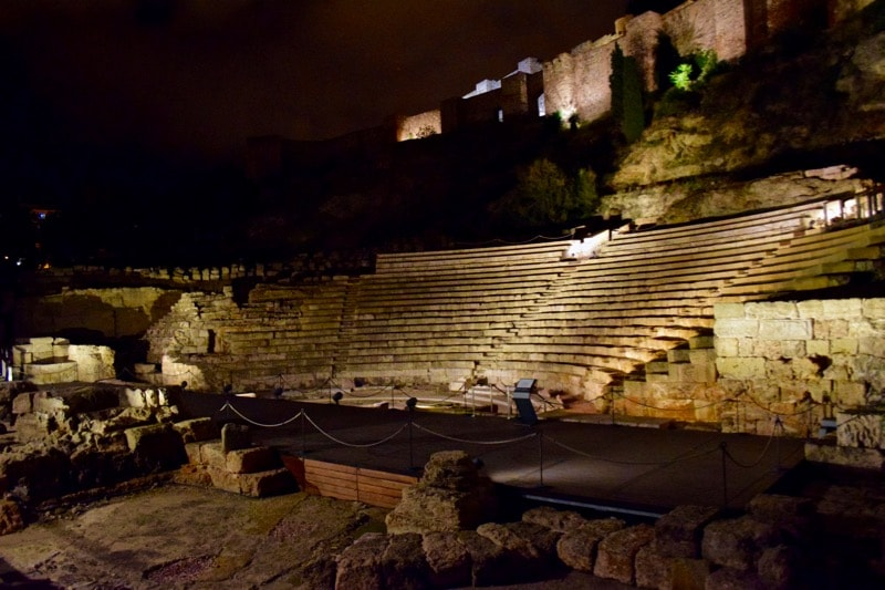 Roman amphitheatre ruins in Malaga, Spain