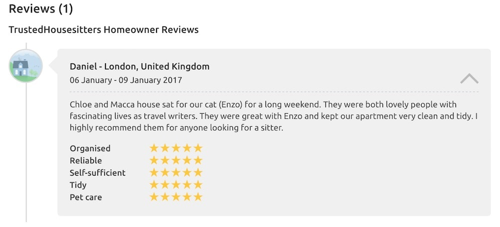 Our first review on Trusted Housesitters