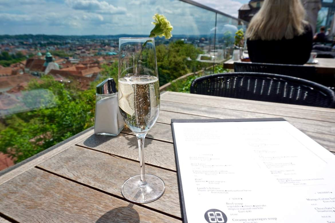 Stopping for lunch at Aiola Upstairs in Graz, Austria