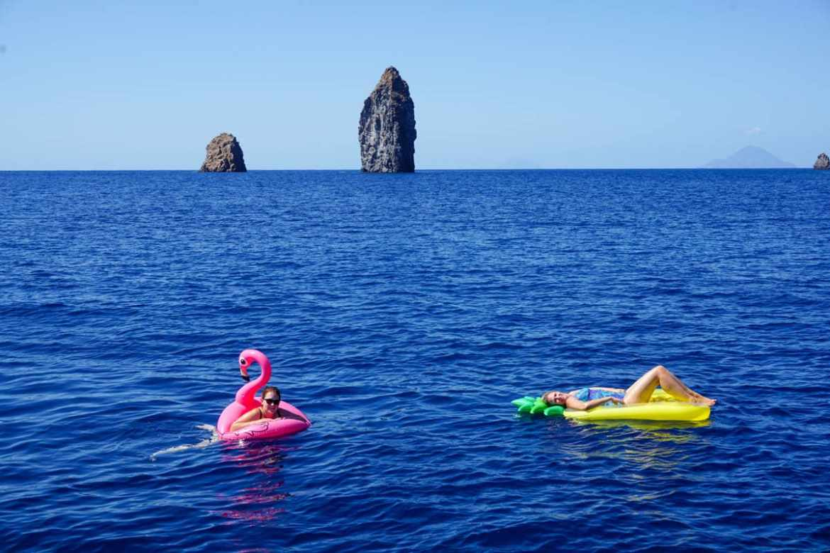 Enjoying the inflatables in Sicily