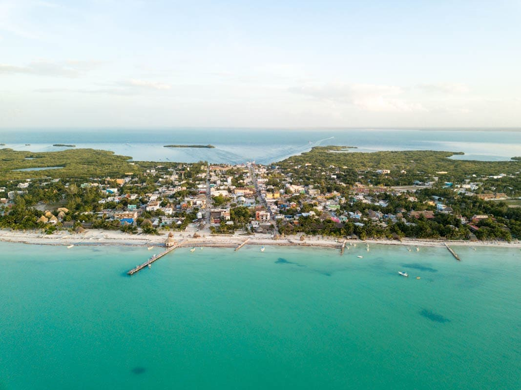 Incredible aerial views over Isla Holbox