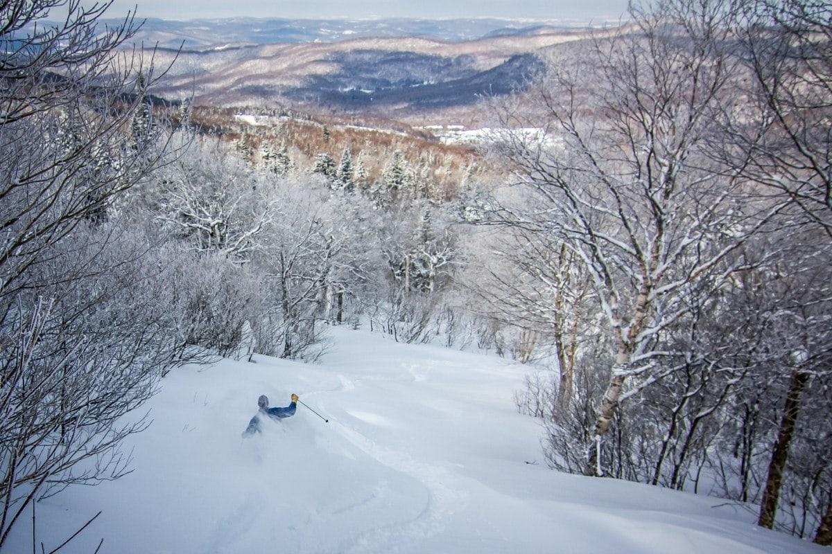 Skiing in Vermont in winter