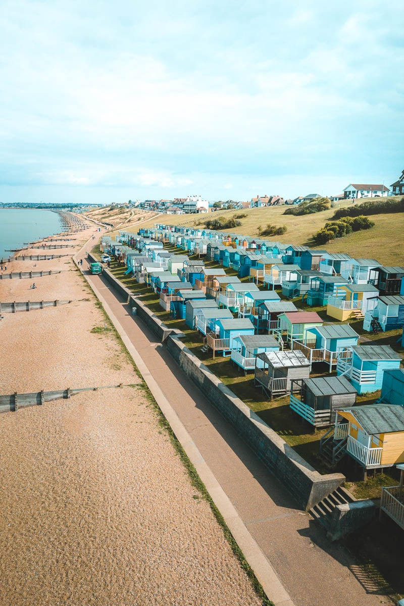 Beach huts on Tankerton Slopes, walking from Whitstable towards Herne Bay