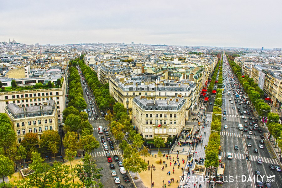 Champs Elysees dall'Arco di Trionfo