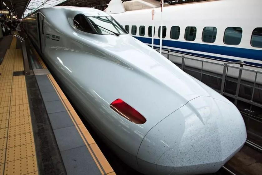 Shinkansen parked at Osaka station.