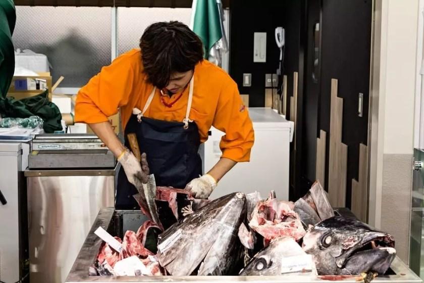 View of a stall at Tsukiji fish Market in Tokyo.