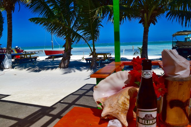 My view from a restaurant on Caye Caulker