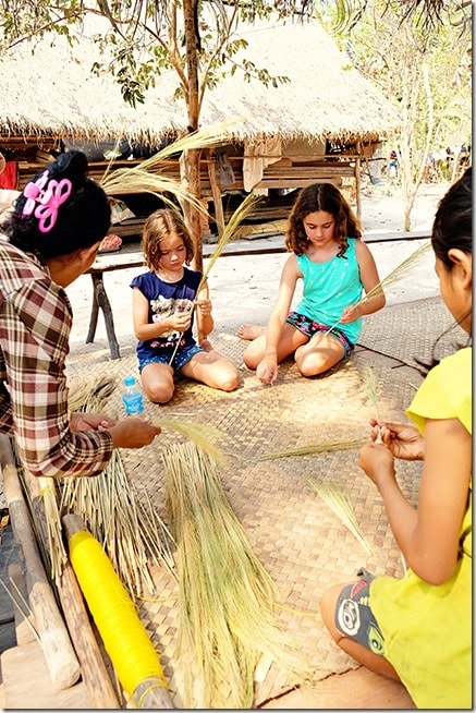 Cambodia Tours: Making Brooms with Kids 2