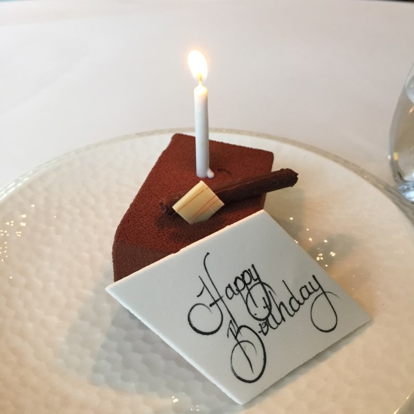 Complimentary birthday cake at Marcus Wareing