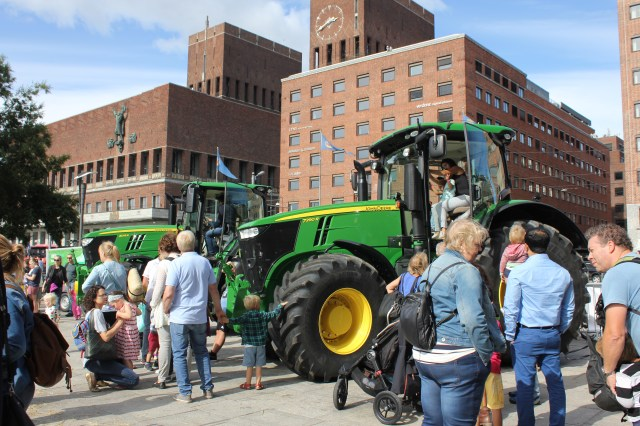 A tractor event taking place outside the City Hall in Oslo
