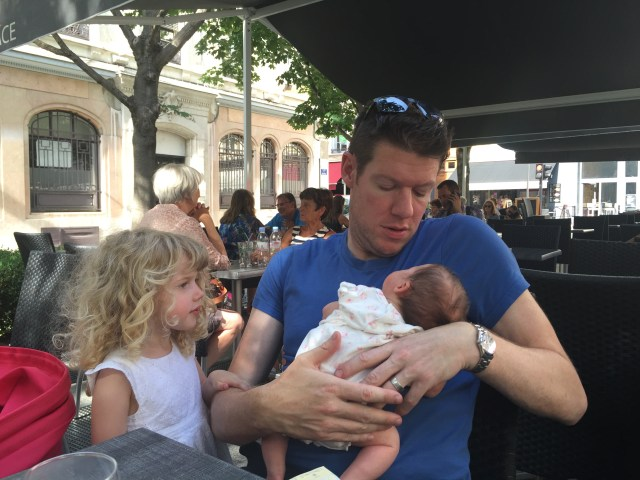 Travel with a baby: Wander dad, Cheeky, Mrs T in Lyon