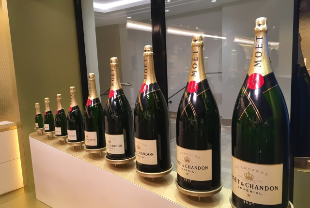 Moet and Chandon champagne bottles at Epernay