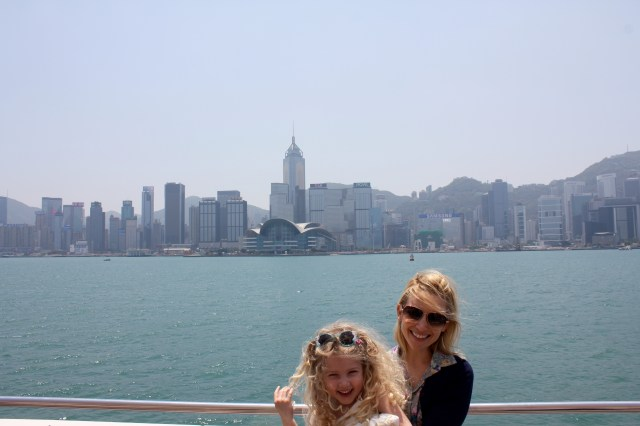 Mrs T and I on Tsim Sha Tsui Promenade, Hong Kong