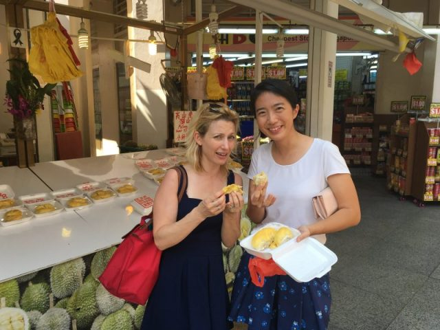 Trying durian fruit with Bumble Bee Mum in Singapore