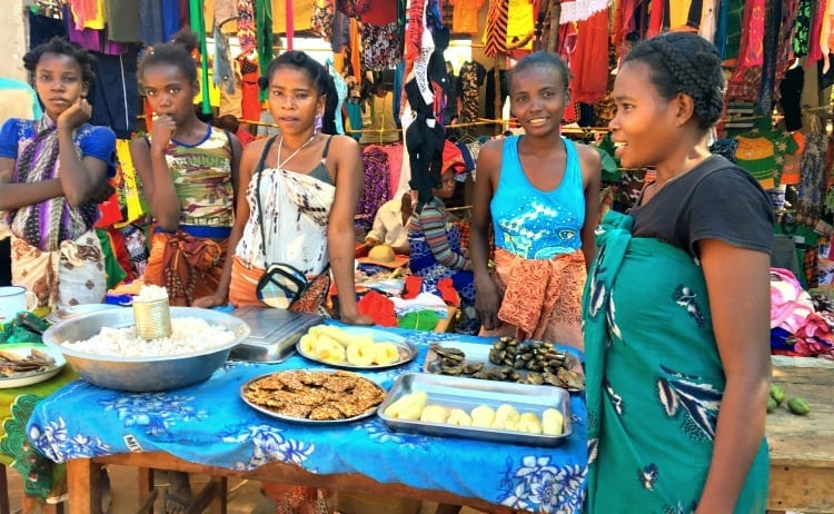Image of Malagasy women at village market
