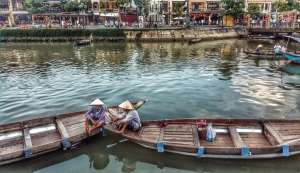 Vietnamese women in boats at Hoi An