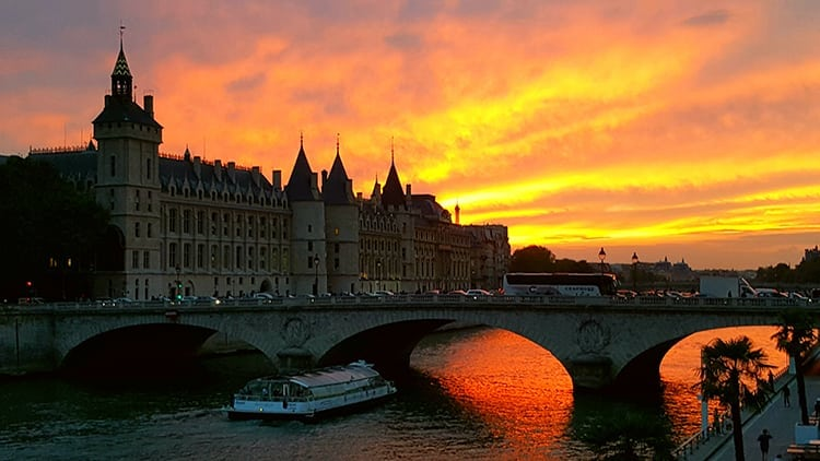 Sunset over the Seine River in Paris