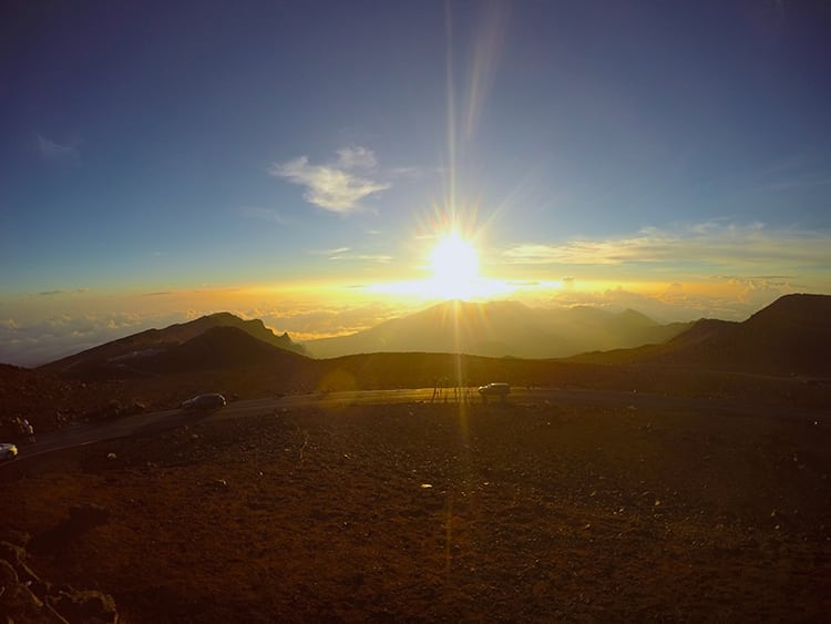 Sunrise behind Haleakala Volcano in Hawaii